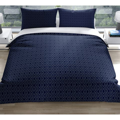 DOTTED GEO INDIGO Duvet Cover by Kavka Designs