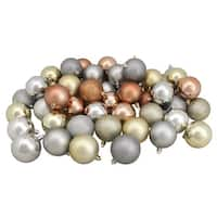 """60ct Silver/Champagne/Almond/Pewter Shatterproof 3-Finish Christmas Ball Ornaments 2.5"""" - multi"""