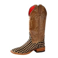 Macie Bean Western Boots Womens Courtly Check Weave Tan Black