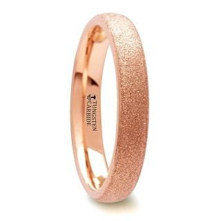 EMBER Domed Women S Rose Gold Plated Tungsten Carbide Ring With Sandblasted Crystalline Finish 4 Mm