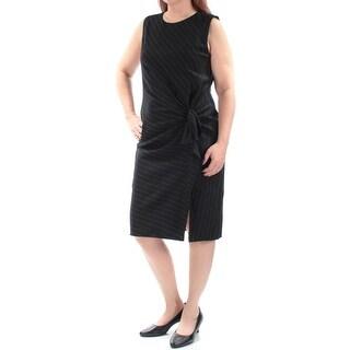 RALPH LAUREN $225 Womens 1116 Black Sleeveless Faux Wrap Formal Dress 16 B+B