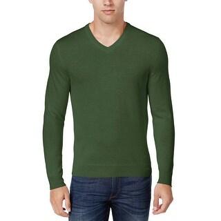 Club Room Merino Wool Blend V-Neck Sweater Isle of Pines Green X-Large