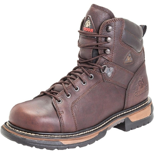 """Rocky Work Boots Mens 6"""" Ironclad Waterproof Lace Toe Brown"""
