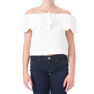 Mother of Pearl Womens A Siret Waffle Off-The-Shoulder Casual Top - 4