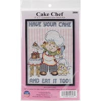 "Cake Chef Mini Counted Cross Stitch Kit-5""X7"" 14 Count"