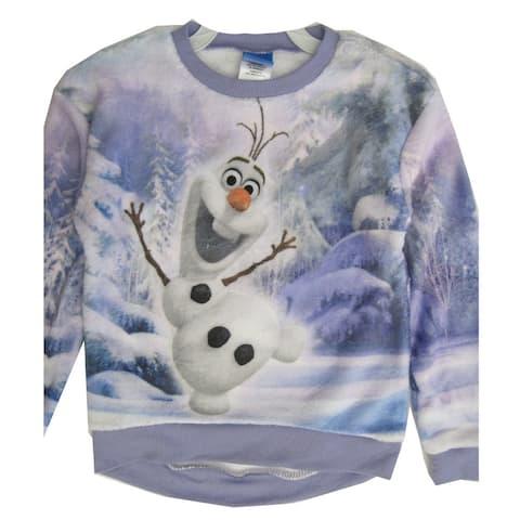 Disney Little Girls Violet Olaf Frozen Wintery Print Long Sleeve Shirt 4-6X