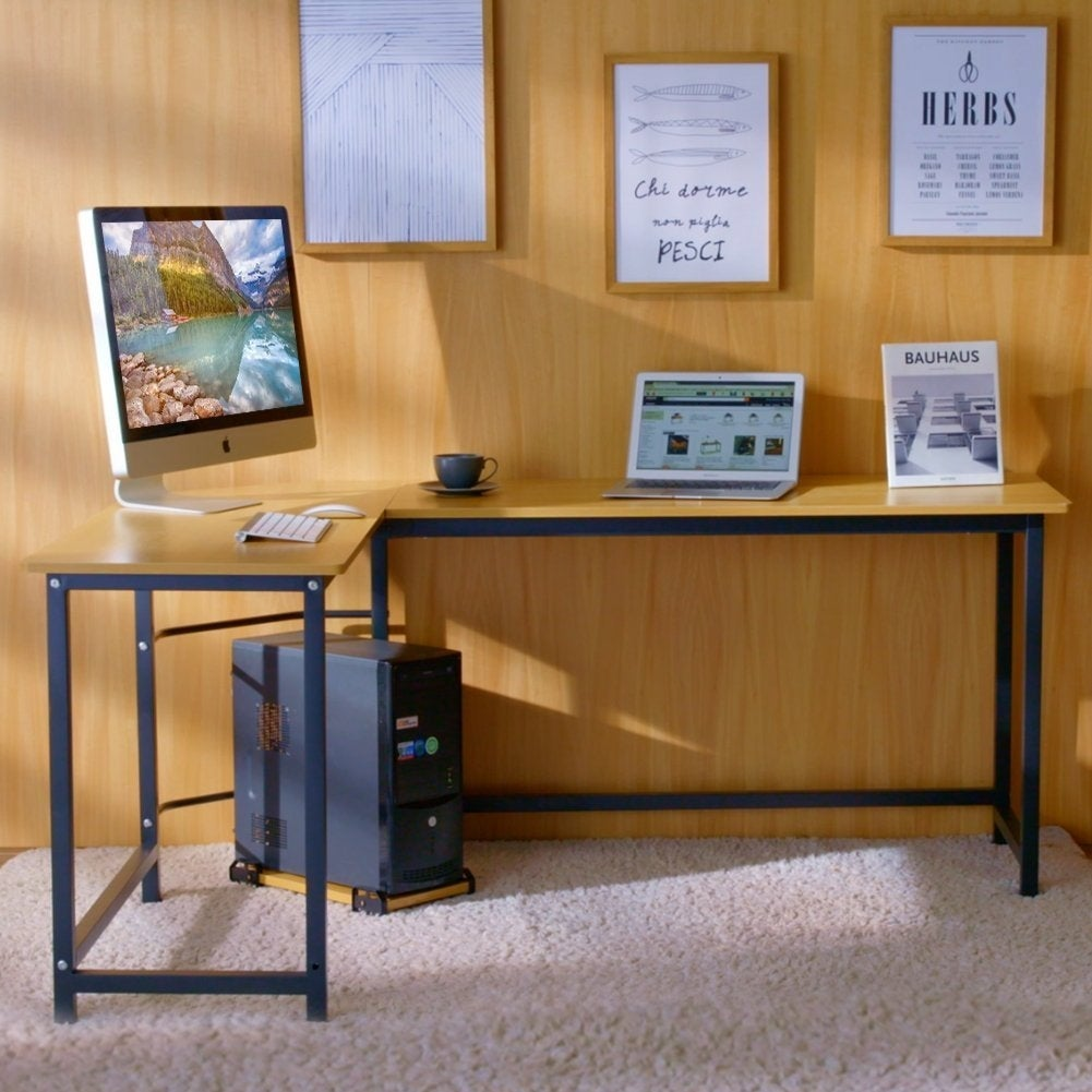 Shop Tribesigns Modern L Shaped Desk Corner Computer Desk Study Home Office    Free Shipping Today   Overstock   20762731   Teak