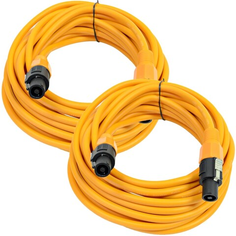 SEISMIC AUDIO Pair of 12 Gauge 25' Orange Speakon to Speakon Speaker Cables