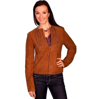 Scully Western Jacket Womens Zip Ruffle Inset Lamb Suede M Brown L647