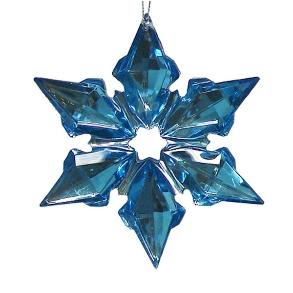 6-Point Blue Gemstone Starburst Christmas Ornament