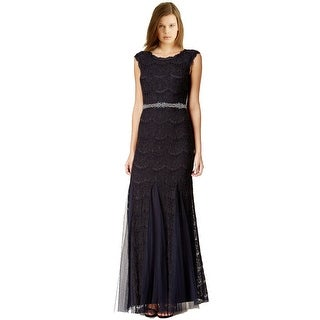 Betsy & Adam Petite Jeweled Chiffon Lace Evening Gown Dress - 6P