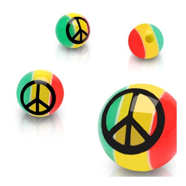 10 Piece Pack of Rasta Colored Peace Sign Logo Balls - 14GA (6mm Ball)
