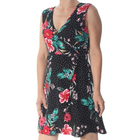 PLANET GOLD Womens Black Printed Sleeveless Above The Knee Dress Juniors Size: M