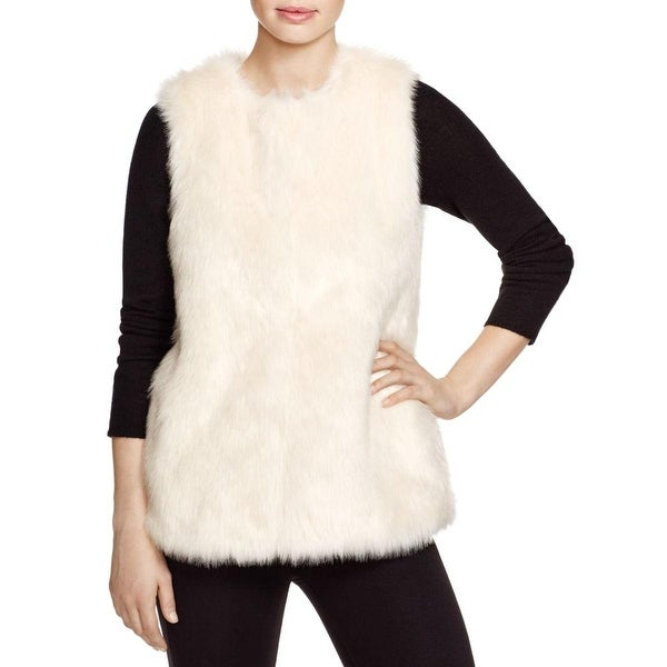 Vince Camuto Womens Casual Vest Long Hair Faux Fur