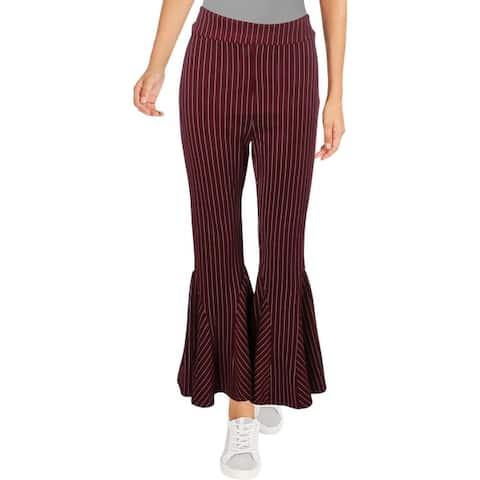 Free People Womens Mari Wide Leg Pants Striped Bell Bottom - Winterberry