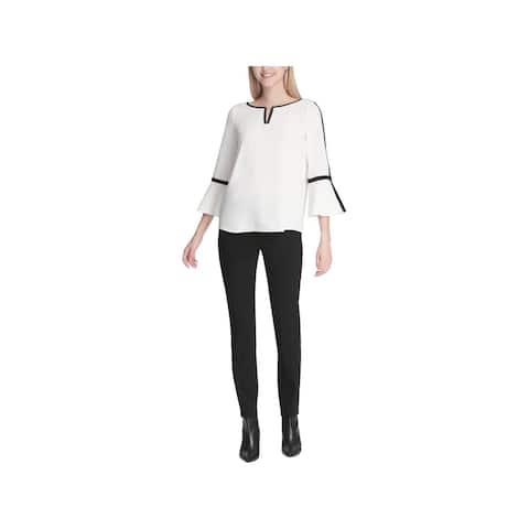 Calvin Klein Womens Blouse Bell Sleeves Pipping