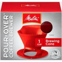 Melitta 1-Cup Pour-Over Coffee Brew Cone, Red