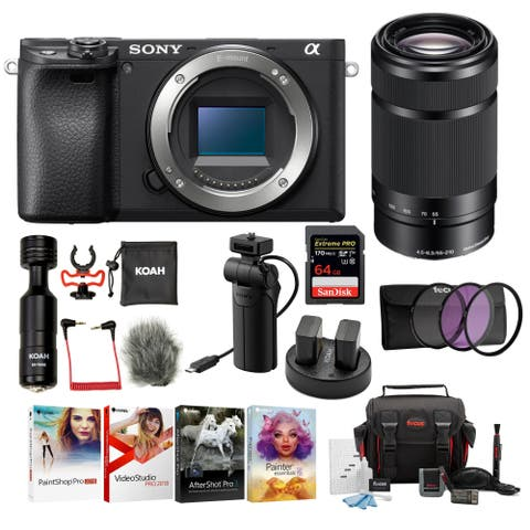 Sony Alpha a6400 Mirrorless Camera Body Kit with Shooting Grip and Mic