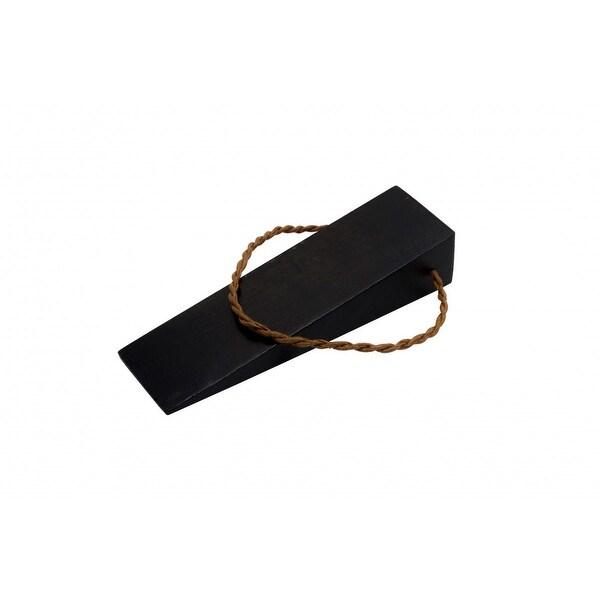 Door Wedge Solid Mango Wood Leather Hanging Loop Black | Renovator's Supply