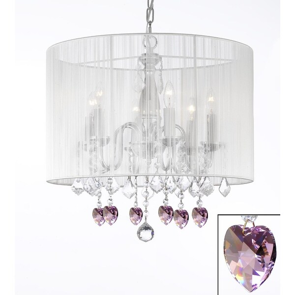 Crystal Chandelier Lighting With Large White Shade & Pink Crystal*Hearts*