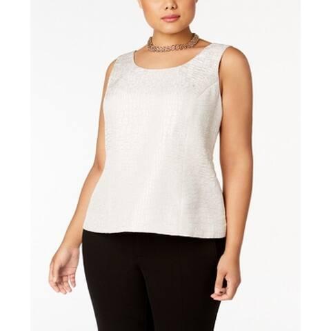 Kasper Beige Womens Size 14W Plus Jacquard Shell Scoop-Neck Blouse