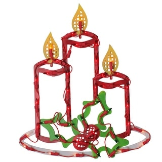 Lighted Candles with Holly and Berry Christmas Window Silhouette - 16.5 Inch