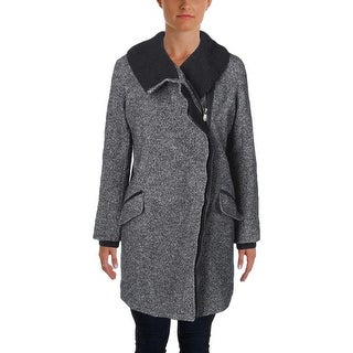 Vince Womens Coat Wool Leather Trim