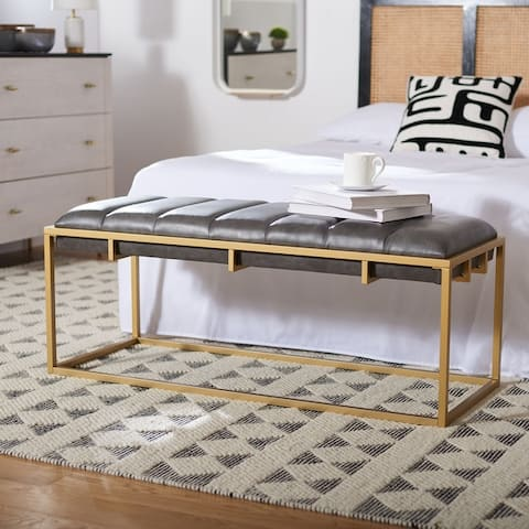 """SAFAVIEH Thalam Channel Tufted Rectangle Bench - 48"""" W x 18"""" L x 19"""" H"""