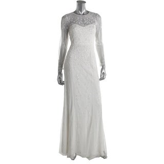 Adrianna Papell Womens Long Sleeves Full-Length Wedding Dress - 4