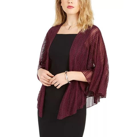 INC International Concepts Women's Cropped Metallic Shrug Purple Size Regular
