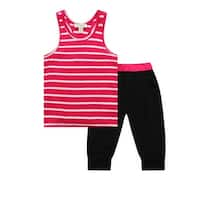 Richie House Girls' Pink and Black Tank and Sweats Set