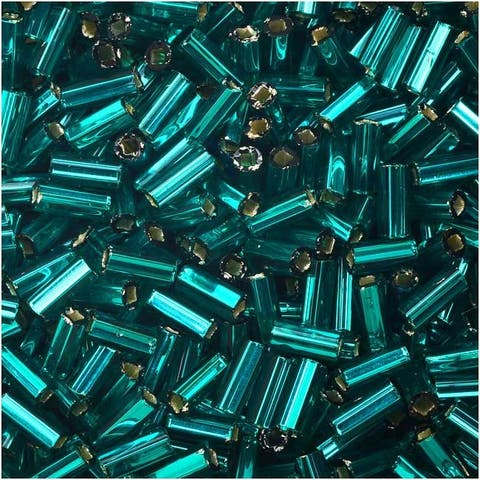 Czech Glass Bugle Beads, Cylinder Size 2 '4.5mm', 24 Gram Tube, Teal S/L