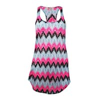 Miken Women's Crochet Chevron Tank Swim Cover Up (M, Black/Aqua) - Black/Aqua - M