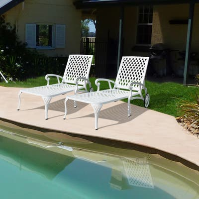 Aluminum Waterproof Chaise Lounge Reclining Chair (Set Of 2)