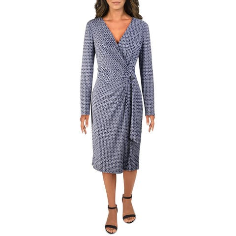 Lauren Ralph Lauren Womens Midi Dress Pritned Faux Wrap - Blue/Colonial Cream