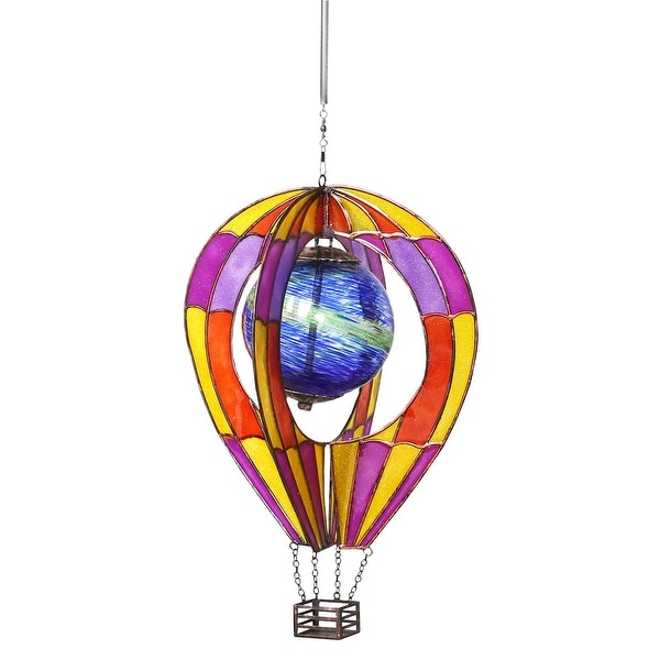 Shop Glass Hot Air Balloon Hanging Wind Spinner With Globe Indoor
