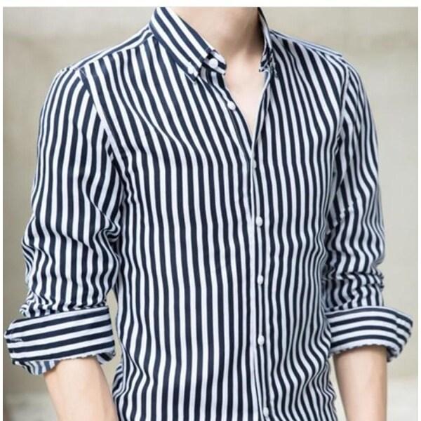 Shop Mens White Vertical Striped Shirt - White - M - Free ...