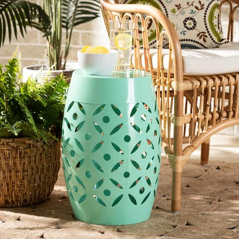 Hallie Modern and Contemporary Aqua Finished Metal Outdoor Side Table