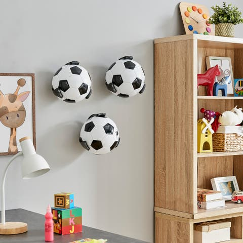 Wall Mount Ball Holder and Organizer for Volleyball and Soccer Balls - Set of 3