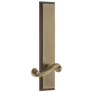 Grandeur CARNEW_TP_PSG_234_RH  Carre Solid Brass Tall Plate Rose Right Handed Passage Door Lever Set with Newport Lever and