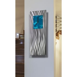 """Link to Statements2000 Metal Wall Clock Art Modern Aqua Silver Accent Decor by Jon Allen - Ocean Energy - 24"""" x 9"""" Similar Items in Decorative Accessories"""