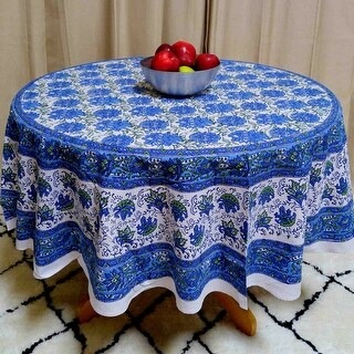 Lotus Flower Block Print Cotton Floral Tablecloth Rectangular Round Square Napkins Blue Green