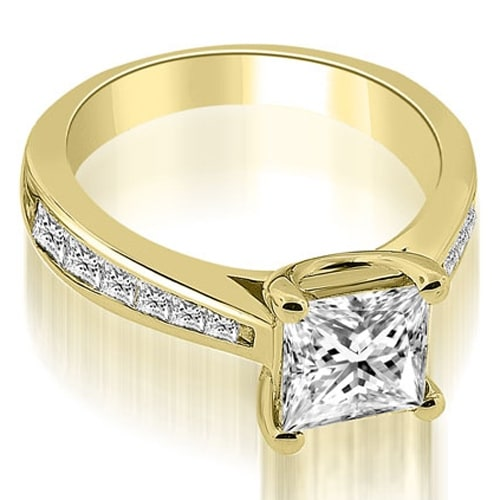 1.40 cttw. 14K Yellow Gold Cathedral Channel Princess Diamond Engagement Ring