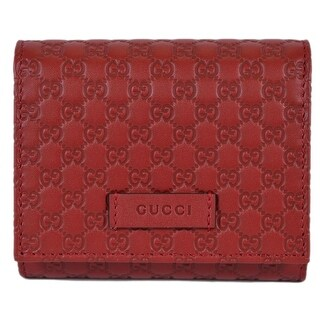 Gucci 510317 Red Leather Micro GG Guccissima Small French Wallet W/Coin - 4.5 x 4 inches