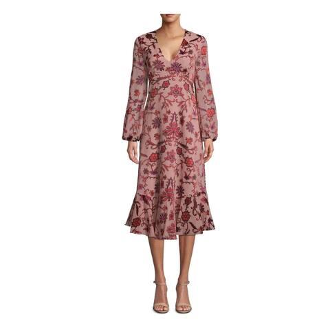 NICOLE MILLER Red Long Sleeve Midi Sheath Dress Size 4