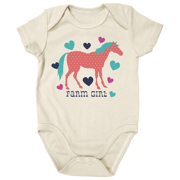 Farm Girl Western Shirt Girls Horse Short Sleeve Ivory