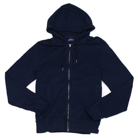 Polo Ralph Lauren Mens Sweater Navy Blue Size 2XL Full Zip Knit Hoodie