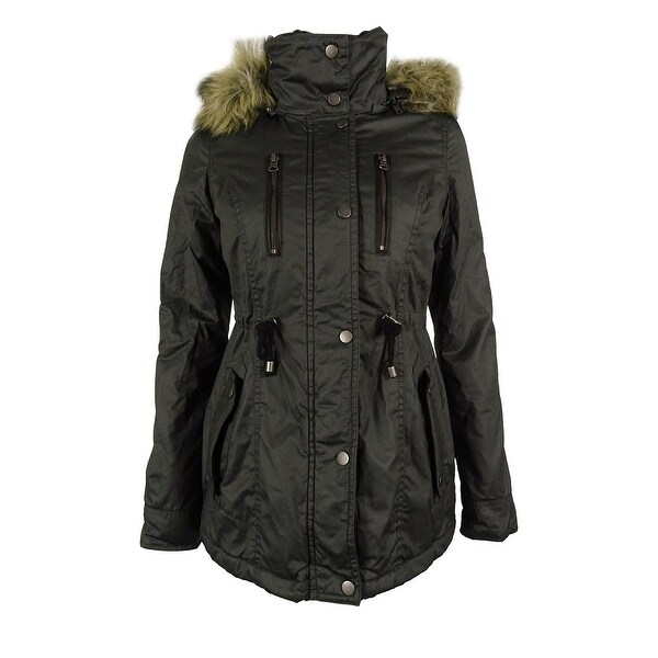 American Rag Women's Faux Fur Trim Hooded Parka Coat - Free ...