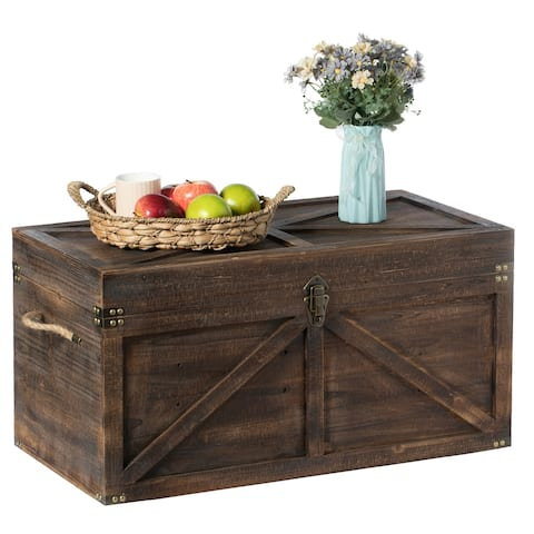 Brown Large Wooden Lockable Trunk Farmhouse Style Rustic Design Lined Storage Chest with Rope Handles