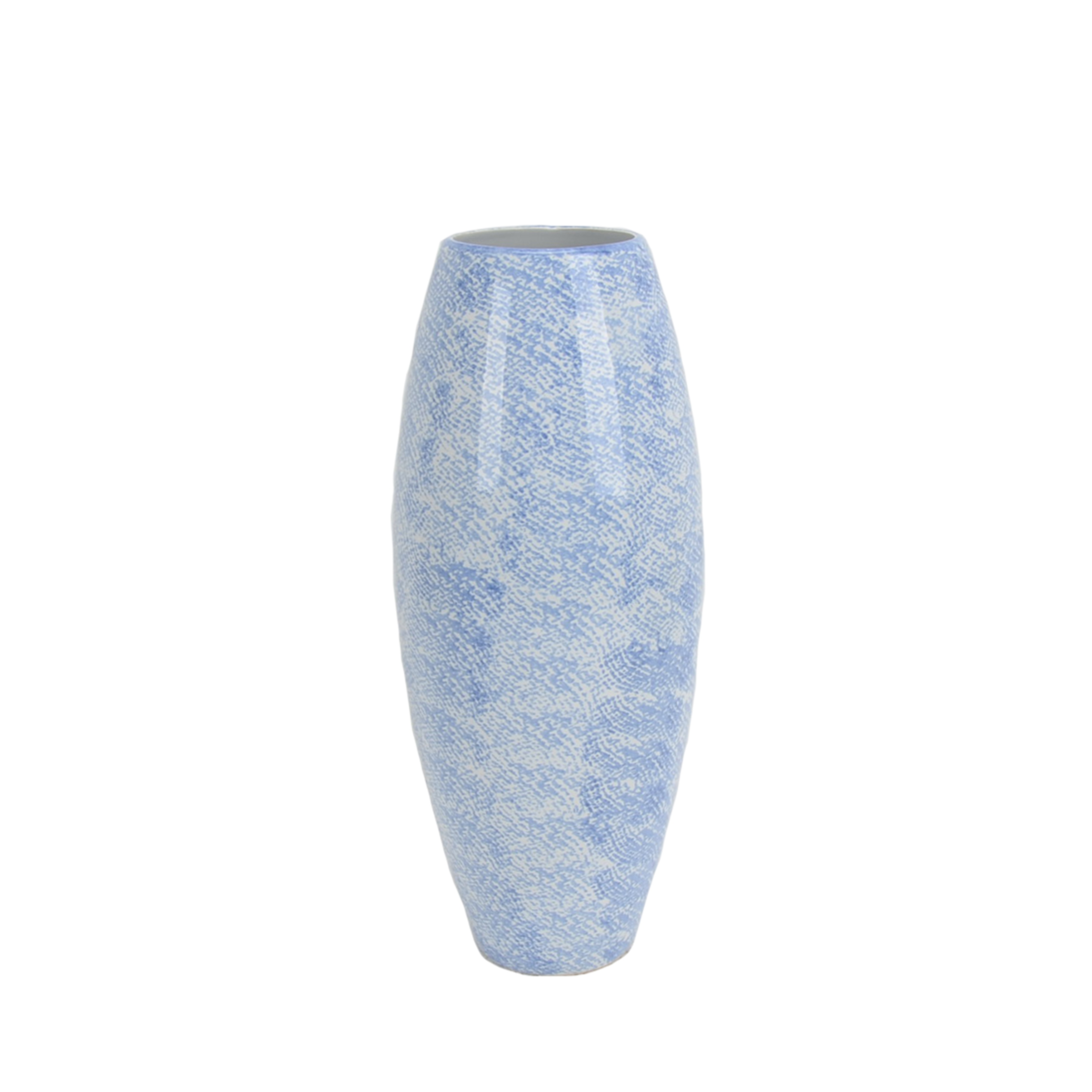 Ceramic Tapered Vase with Texture Design, Blue and White